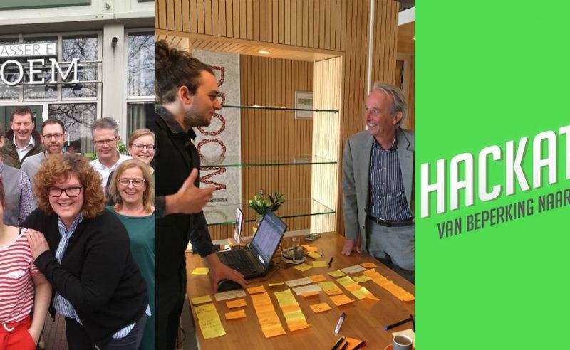 Banner met foto team, Tijn en Wim Muilenburg en logo hackathon